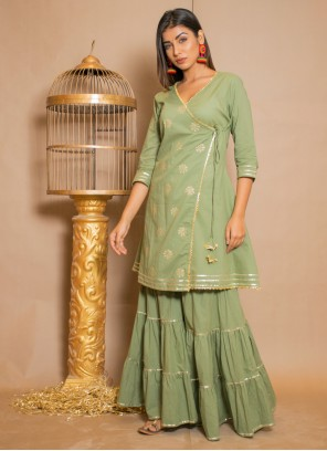 Lace Cotton Salwar Suit in Green