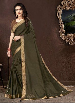 Green Lace Vichitra silk Designer Traditional Saree
