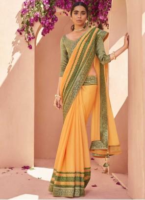 Lace Faux Chiffon Classic Saree in Yellow