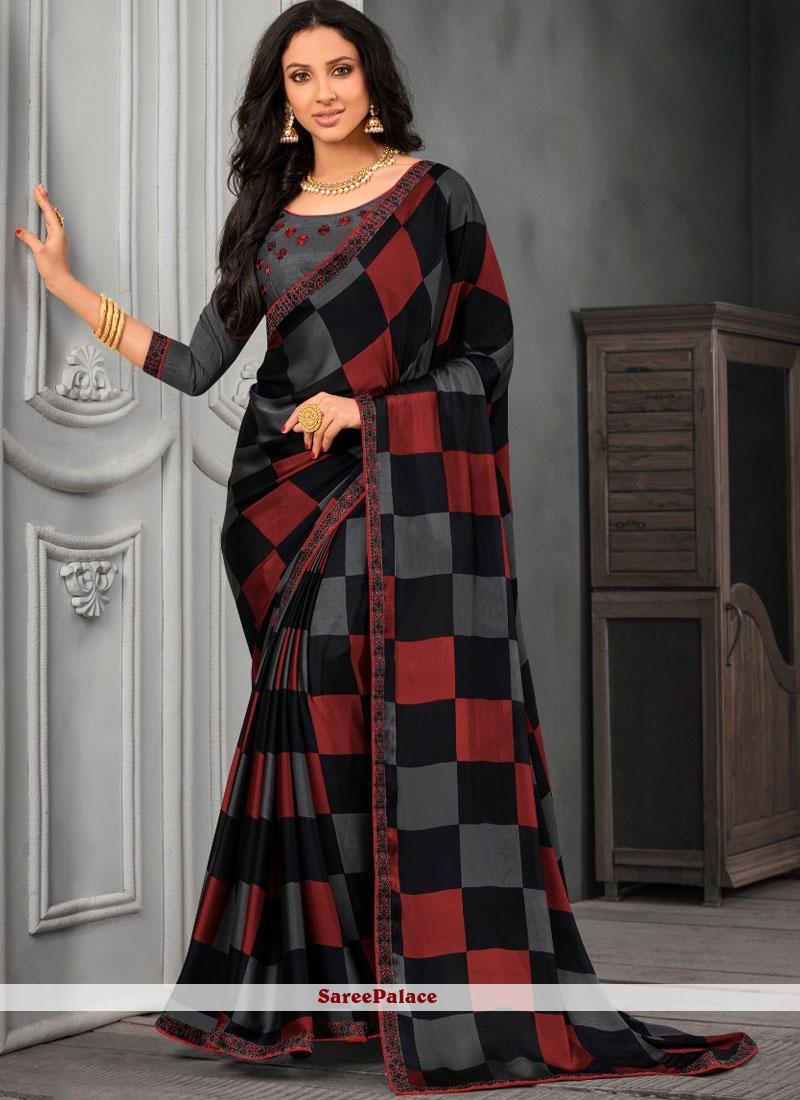 Lace Faux Chiffon Multi Colour Classic Designer Saree