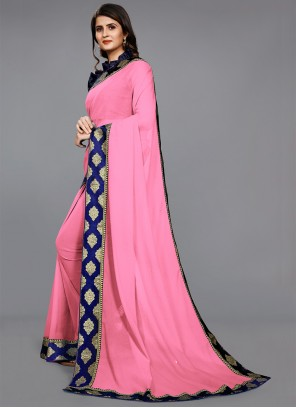 Lace Faux Chiffon Rose Pink Casual Saree