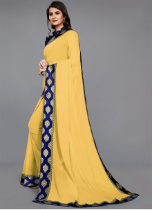Lace Faux Chiffon Trendy Saree