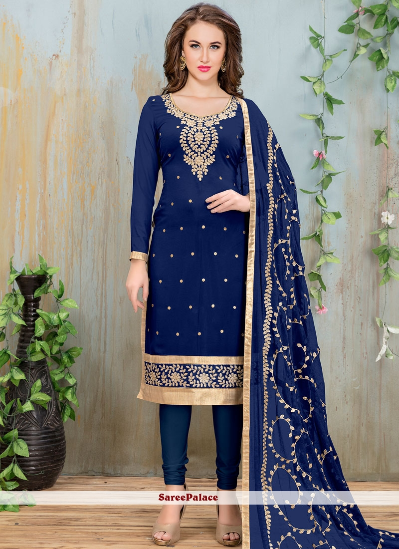 8f72ce3b73 Buy Lace Faux Georgette Churidar Suit in Navy Blue Online