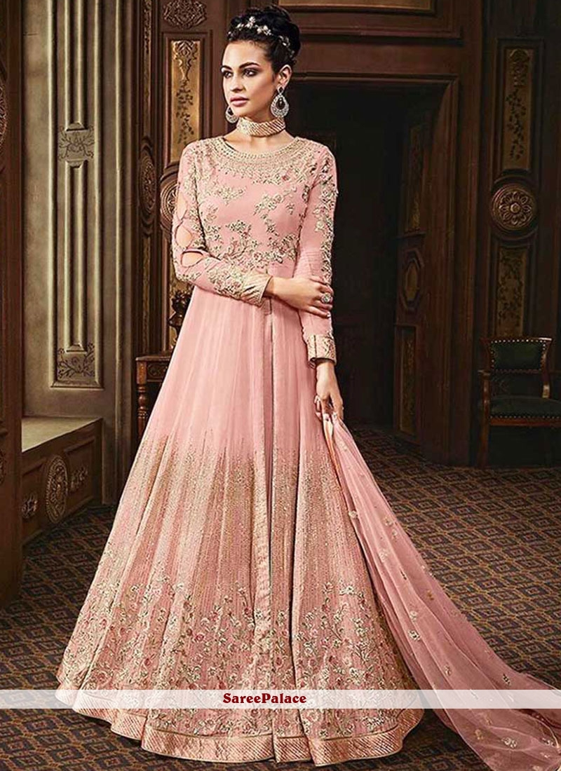 Pink Lace Faux Georgette Floor Length Anarkali Suit