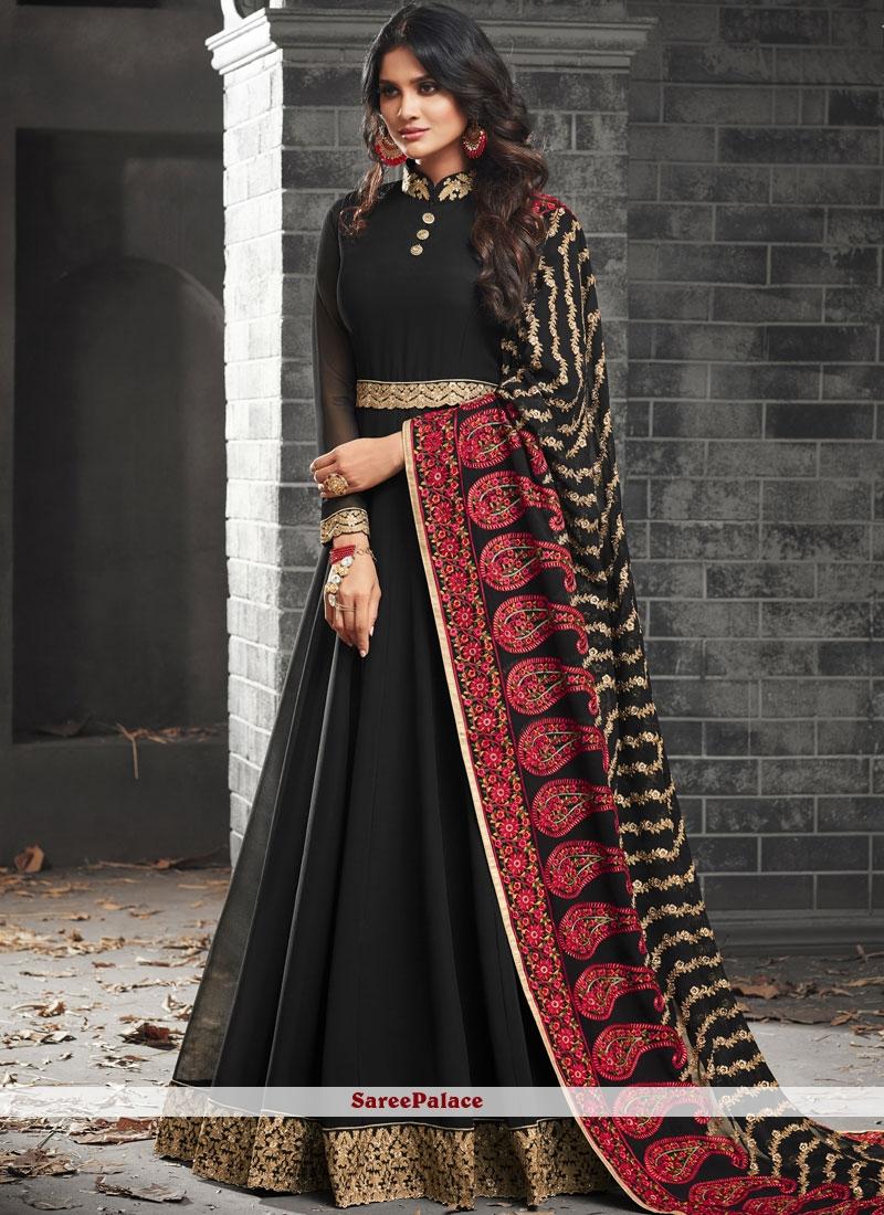 Lace Faux Georgette Floor Length Anarkali Suit in Black