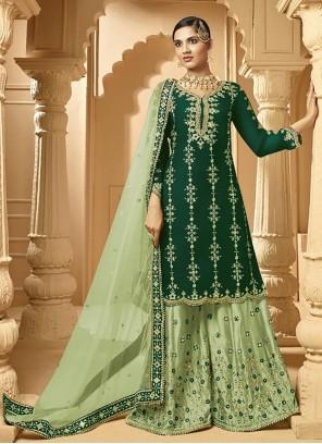 Lace Faux Georgette Green Designer Palazzo Suit