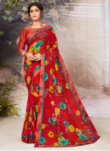 Lace Faux Georgette Red Casual Saree