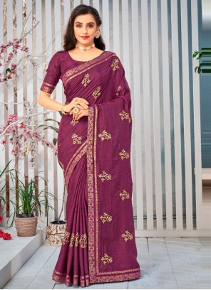 Purple Lace Work Art Silk Traditional Saree