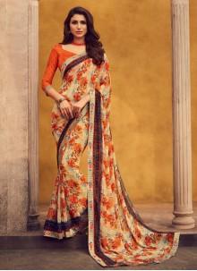 Lace Georgette Beige Designer Bollywood Saree