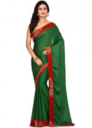 Lace Green Art Silk Designer Saree