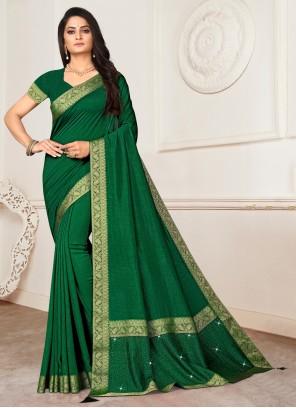 Lace Green Silk Designer Saree