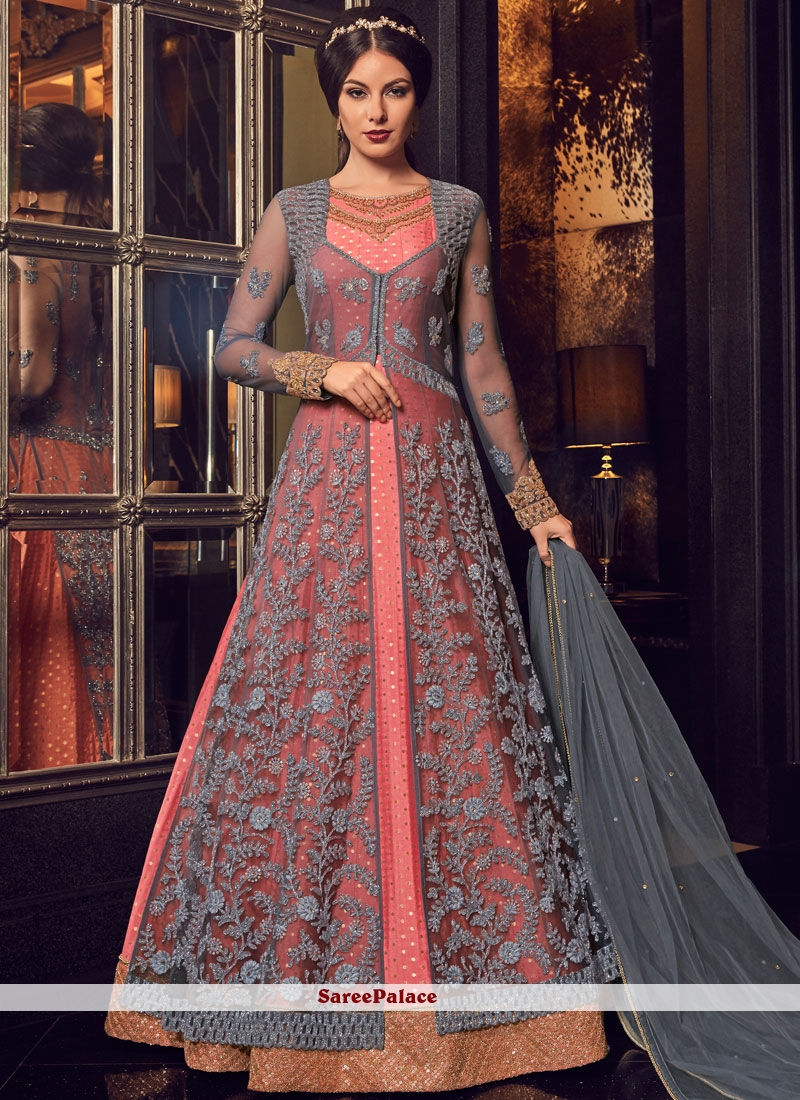 Lace Grey and Pink Floor Length Anarkali Suit