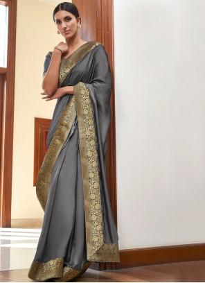 Lace Grey Art Silk Designer Traditional Saree