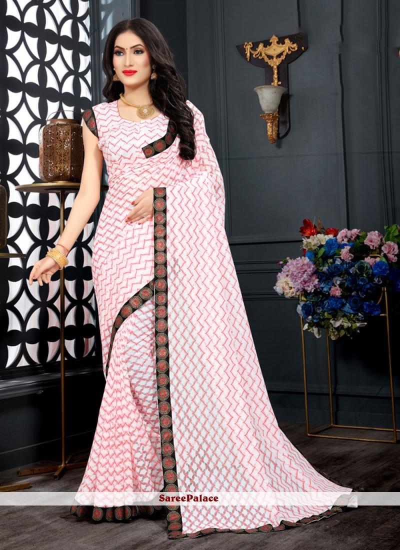 Lace Jacquard Pink Designer Saree