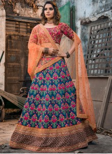 Blue Malbari Silk Lace Lehenga Choli