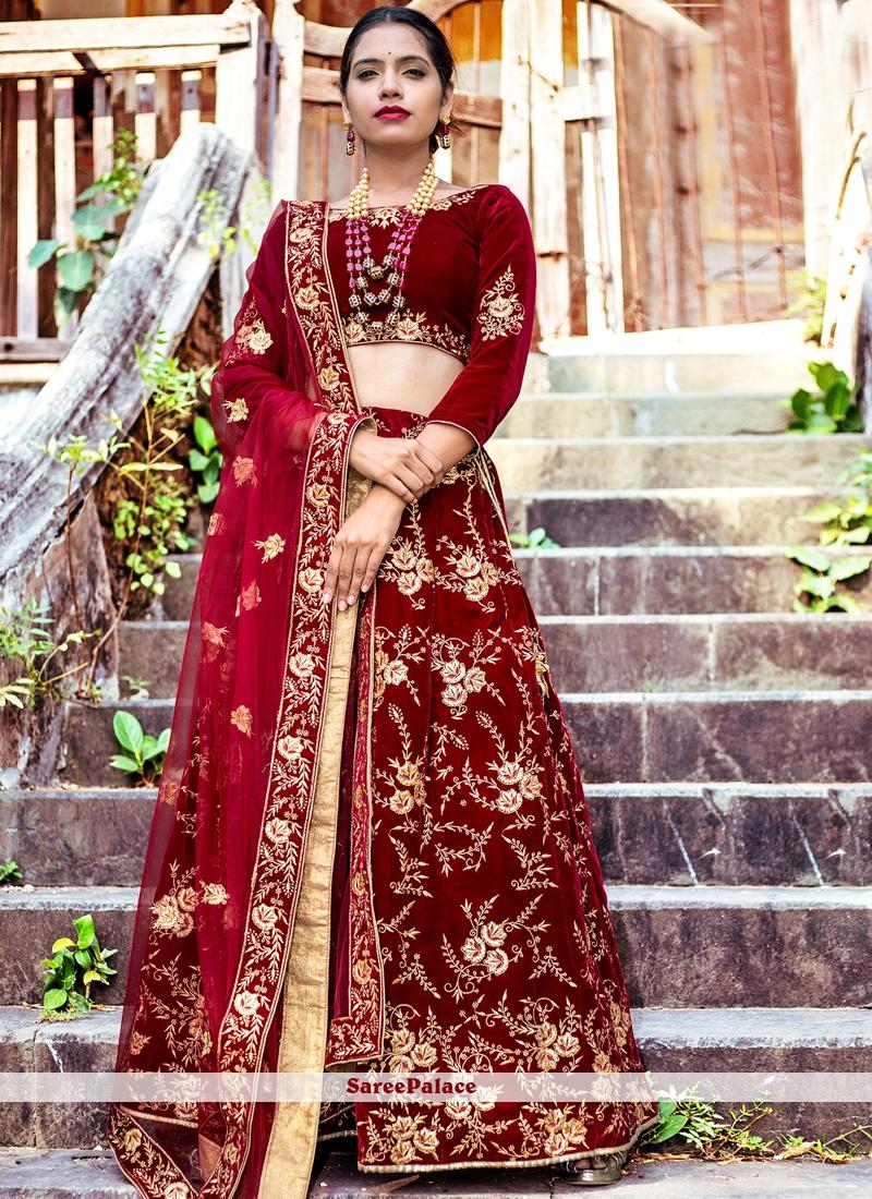 Maroon Lace Lehenga Choli