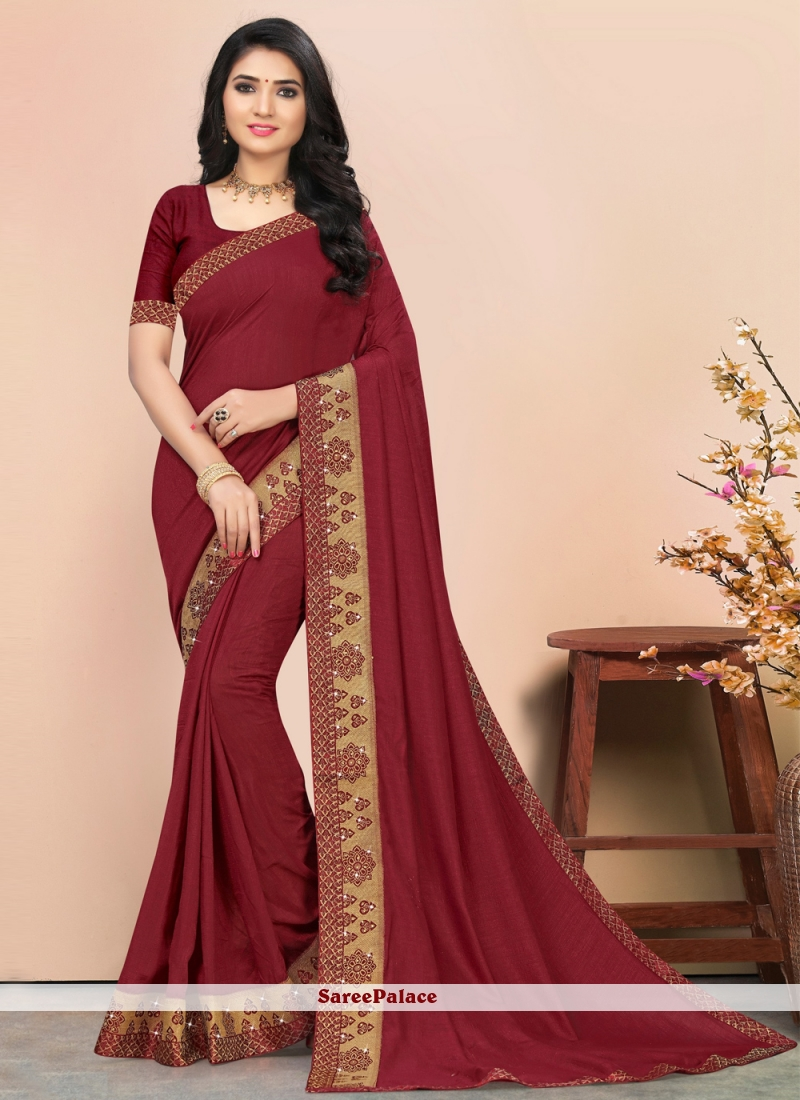 Lace Maroon Silk Designer Saree