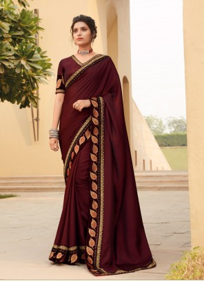Lace Maroon Silk Traditional Saree