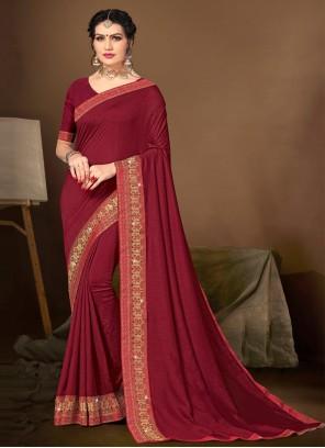 Lace Maroon Silk Traditional Saree