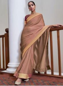 Lace Mauve  Art Silk Traditional Saree