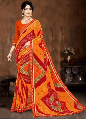 Lace Multi Colour Faux Georgette Printed Saree