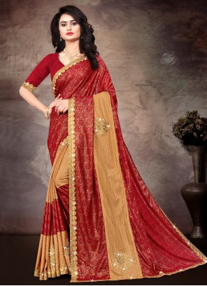 Lace Multi Colour Silk Classic Saree
