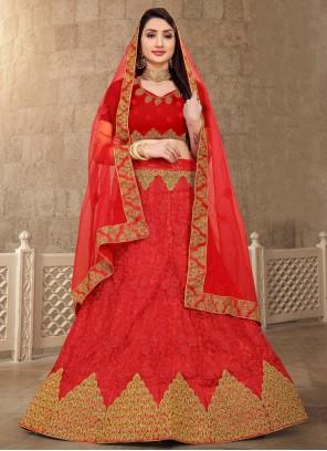 Lace Net Red Lehenga Choli