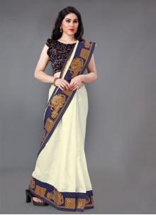 Lace Off White Silk Classic Saree