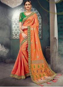 Lace Orange Classic Saree