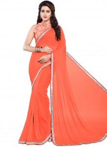 Lace Orange Trendy Saree