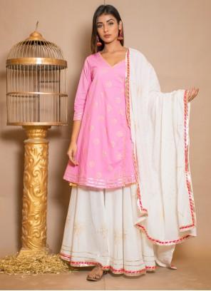 Lace Pink Cotton Designer Palazzo Salwar Suit