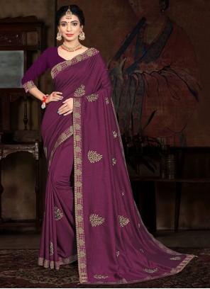 Lace Purple Vichitra Silk Traditional Saree
