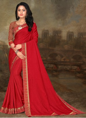 Lace Red Art Silk Classic Saree