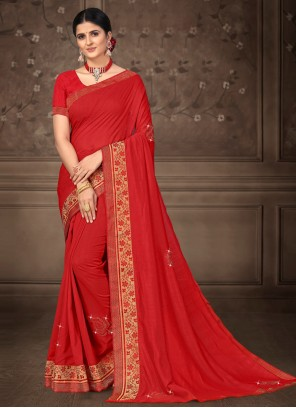 Lace Red Classic Saree