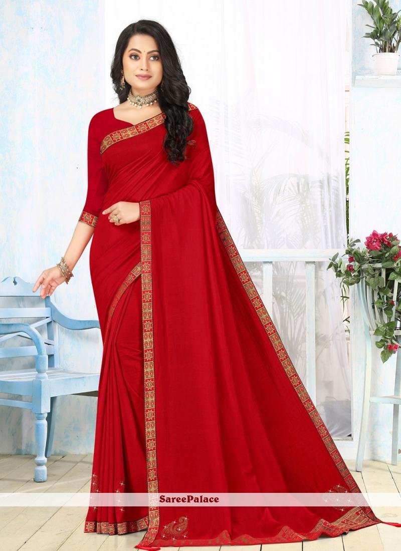 Lace Vichitra silk Red Classic Saree