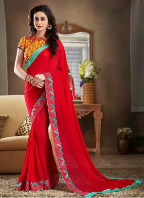 Lace Red Faux Georgette Classic Designer Saree