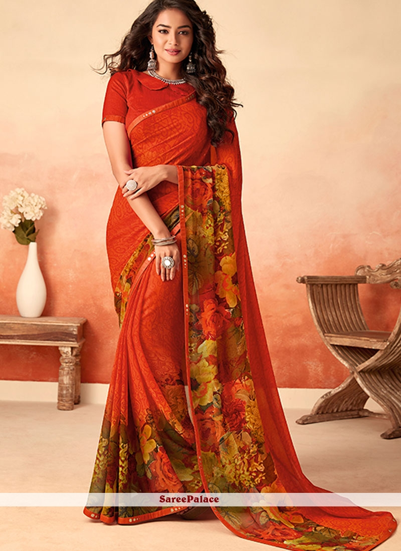 Lace Red Georgette Traditional Saree