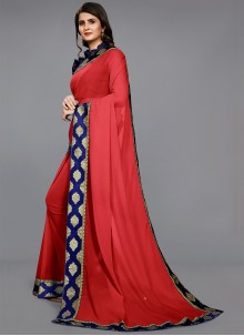 Lace Red Trendy Saree
