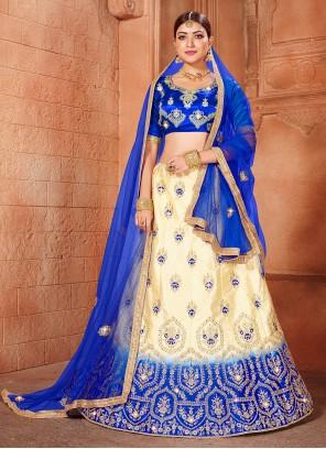 Lace Satin Silk Lehenga Choli in Beige and Blue