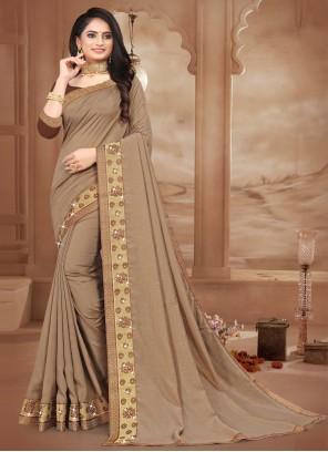 Lace Silk Brown Contemporary Saree