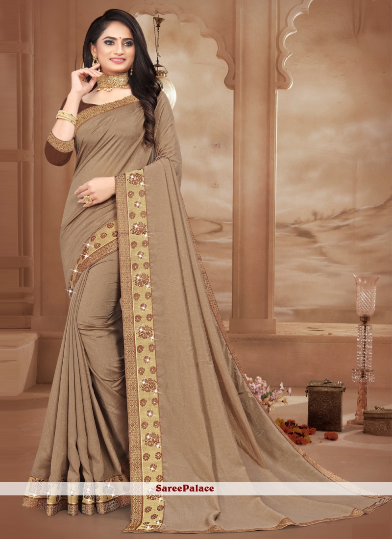 Lace Silk Brown Contemporary Saree