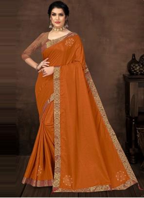 Lace Silk Casual Saree in Orange