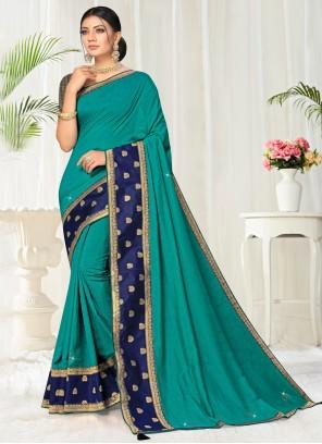 Lace Silk Designer Saree in Turquoise