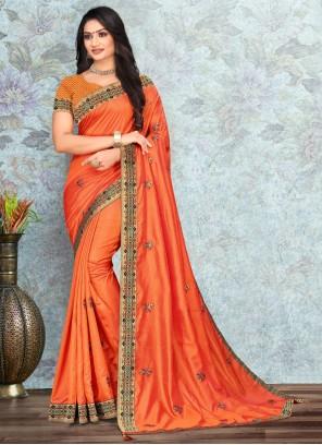 Lace Silk Orange Classic Saree