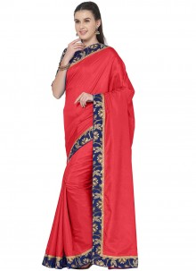 Lace Silk Red Trendy Saree