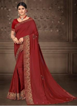 Lace Silk Maroon Traditional Saree