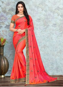 Lace Silk Traditional Saree in Peach