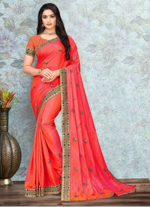 Lace Silk Traditional Saree in Peach