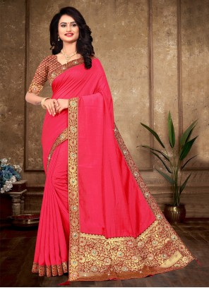 Lace Silk Traditional Saree in Pink