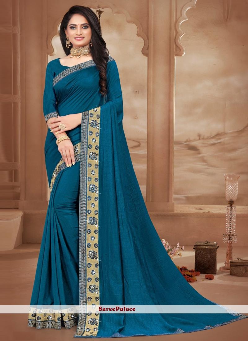 Lace Silk Trendy Blue Saree